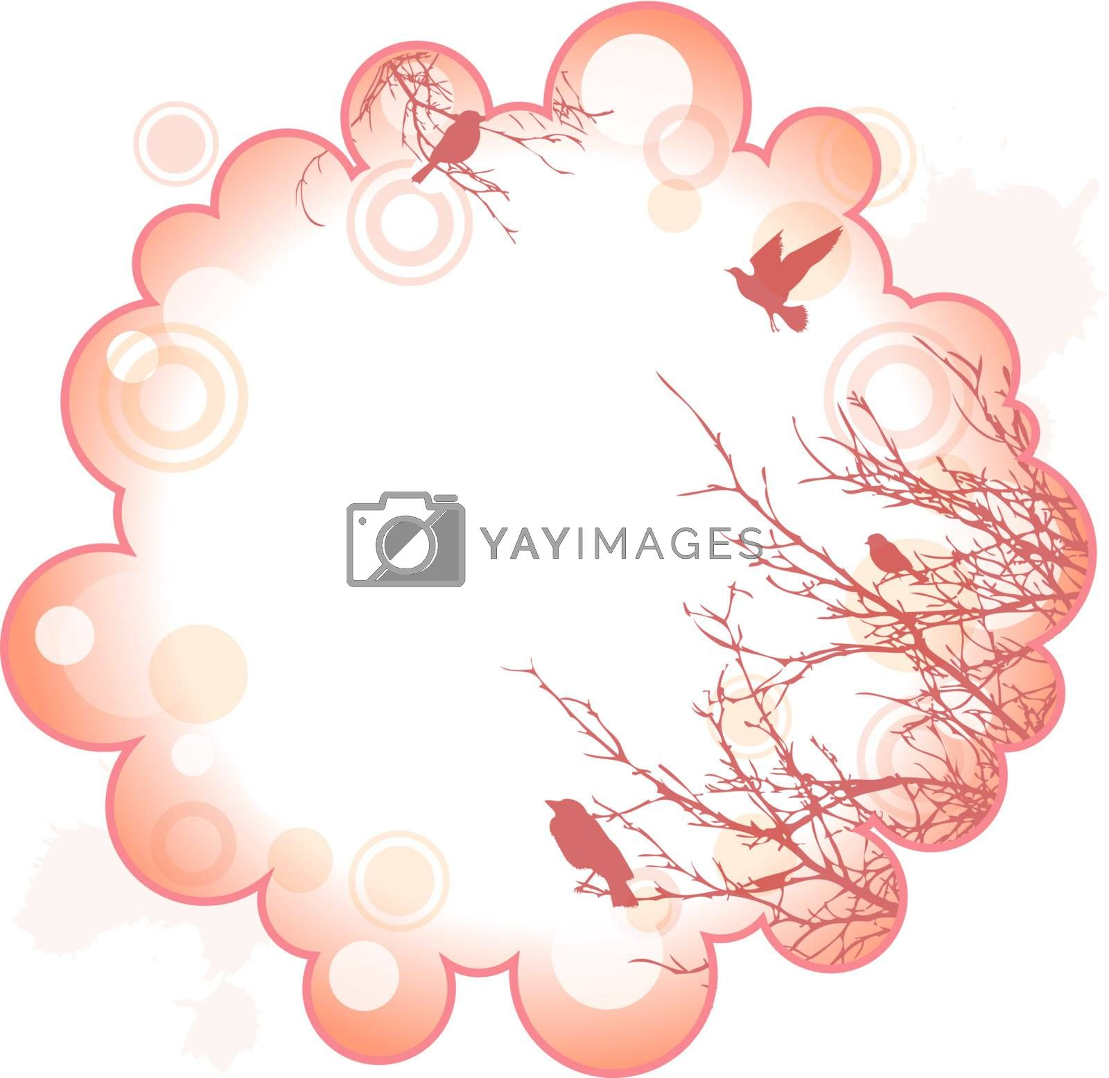 decorative abstract frame with silhouette of trees and birds, copyspace