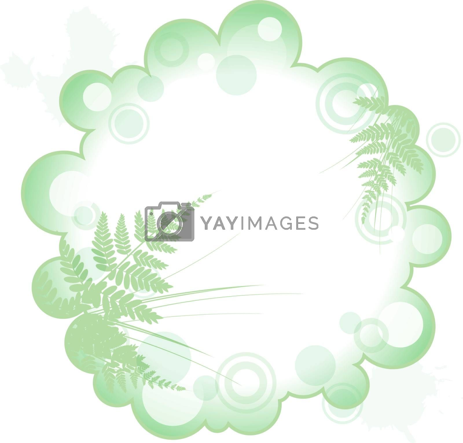 decorative abstract frame with silhouette of grass and fern, copyspace