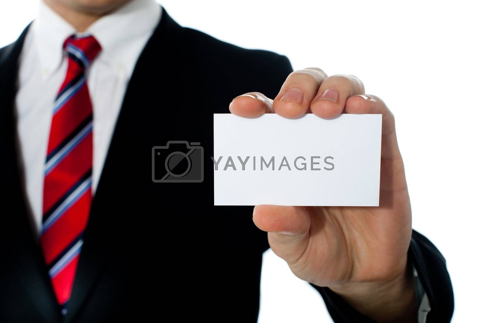 Closeup shot of a man showing business card, copysapce area