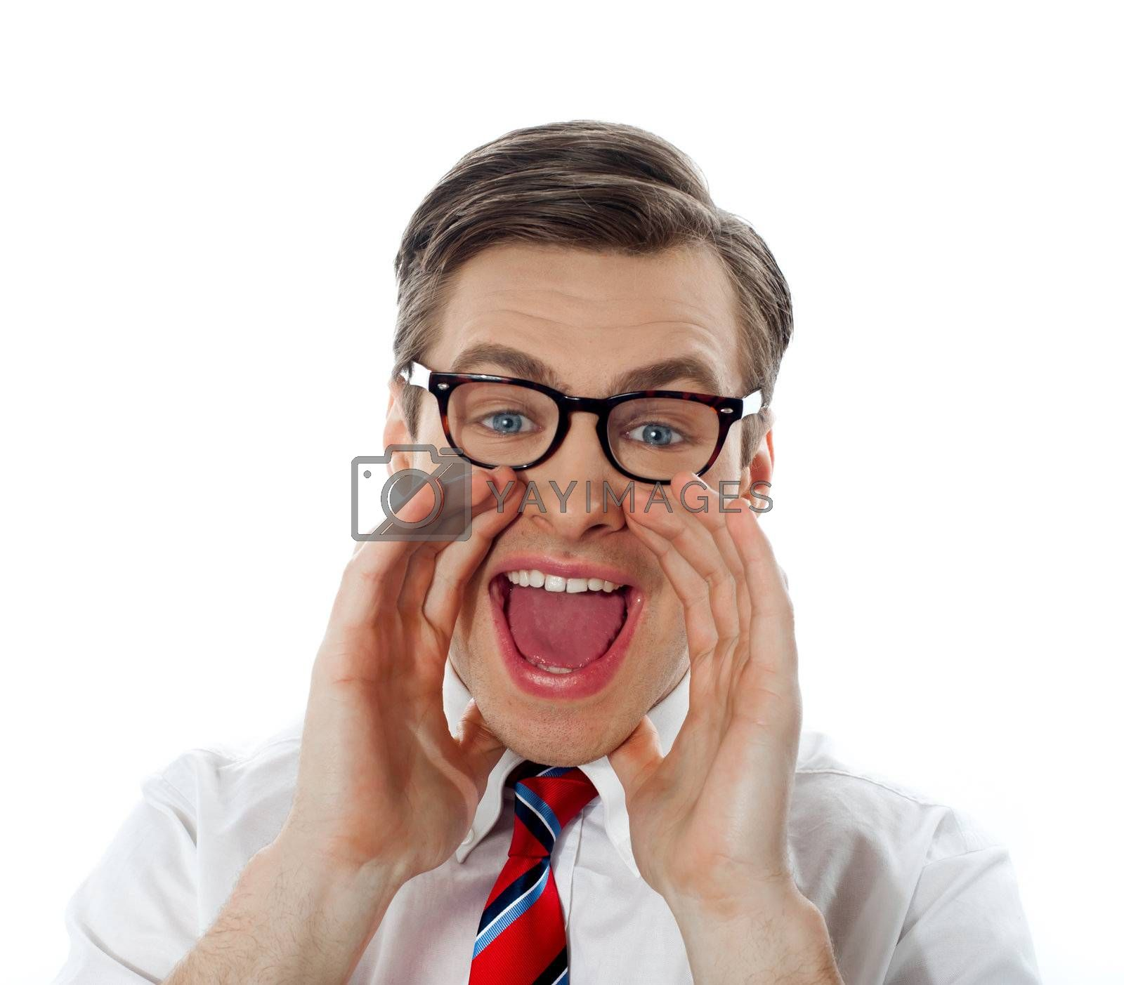 Excited businessman shouting in joy, closeup shot