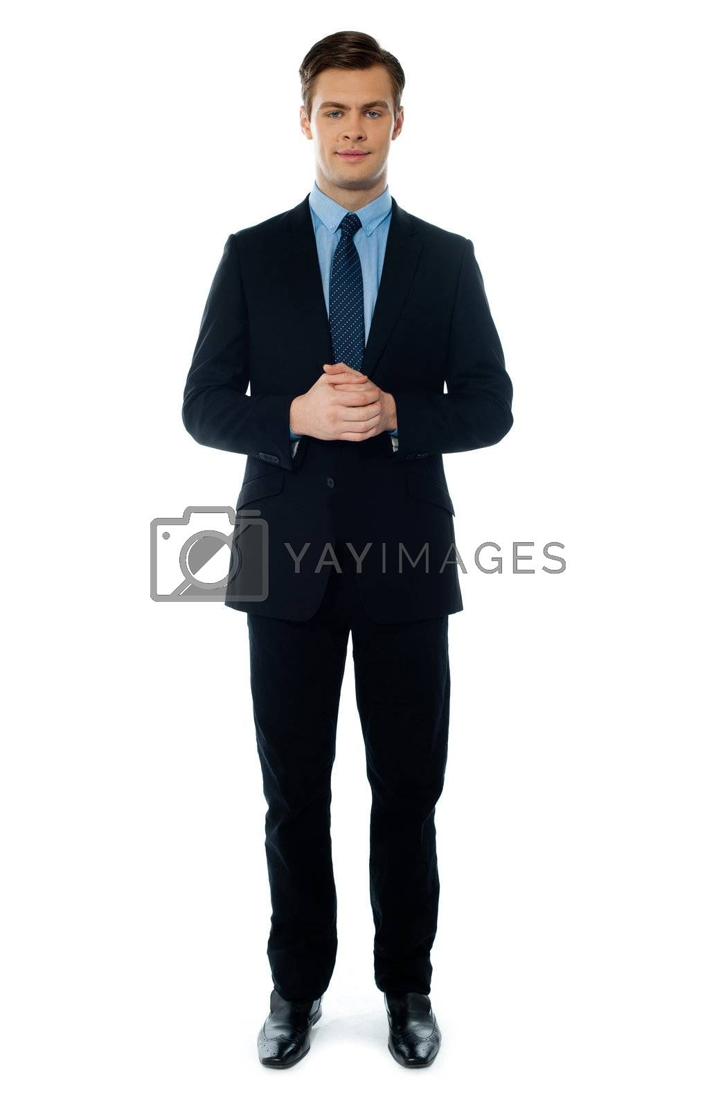 Handsome businessperson posing in front of camera