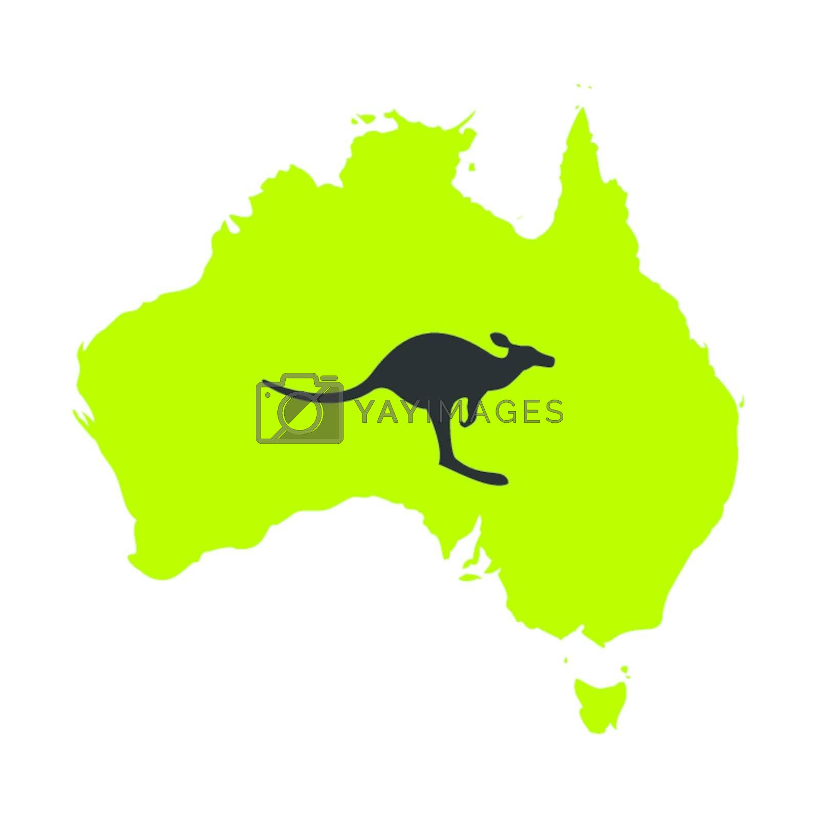 Australia and kangaroo against. A vector illustration