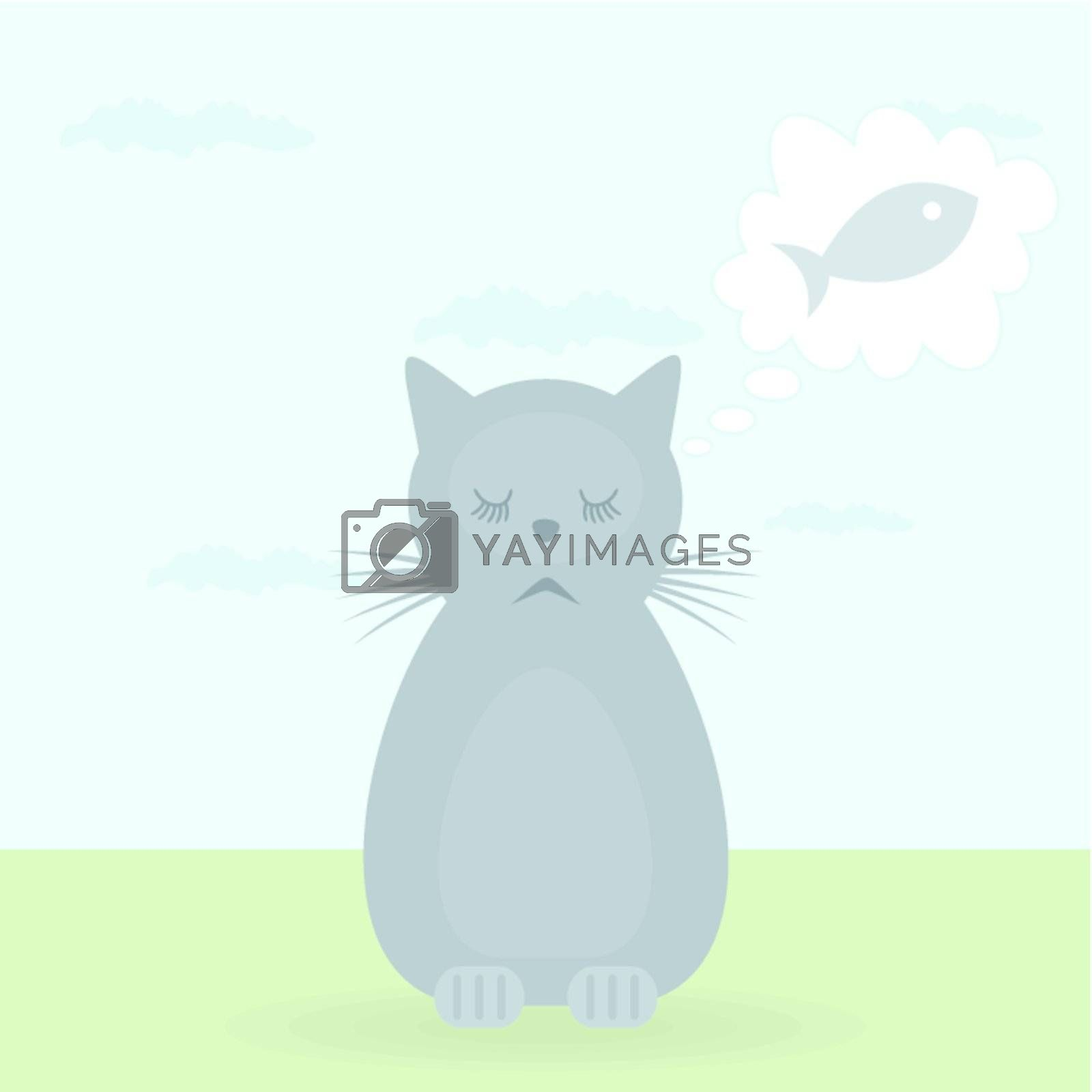 The cat on the nature dreams of fish. A vector illustration