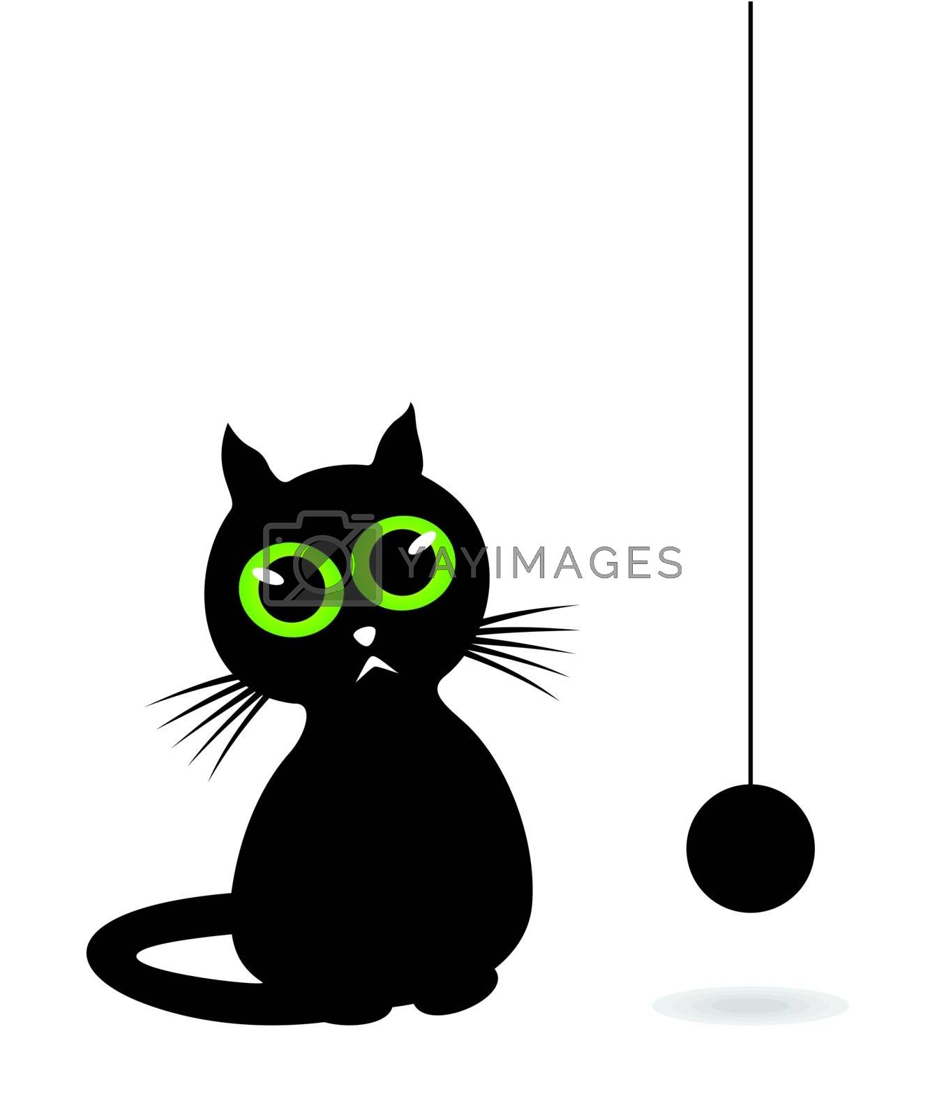 The black cat looks at a hank of threads. A vector illustration