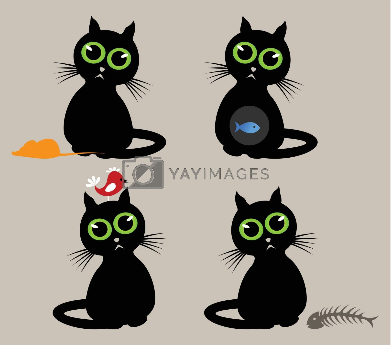 Black cat with different animals. A vector illustration