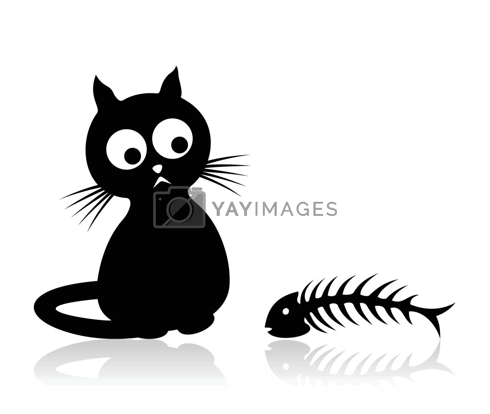 The cat sits and looks at a bone of fish. A vector illustration