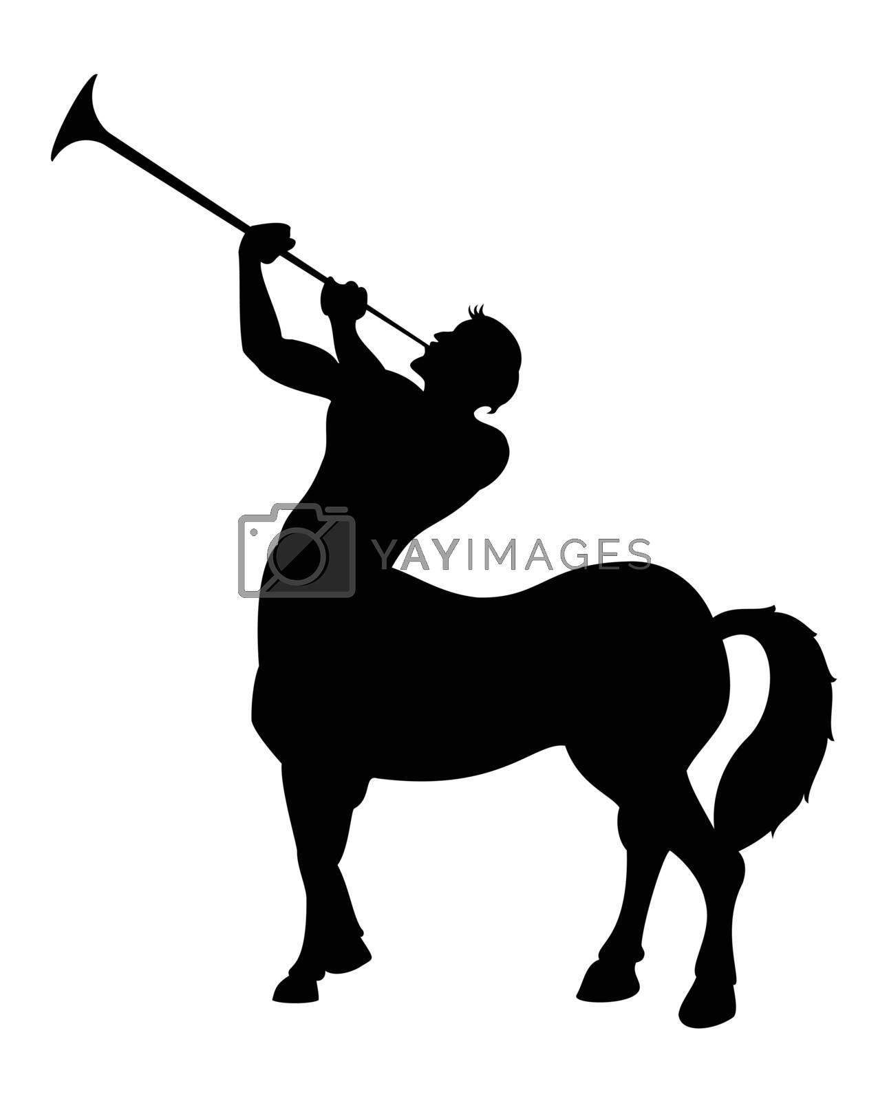 The centaur blows a black silhouette. A vector illustration