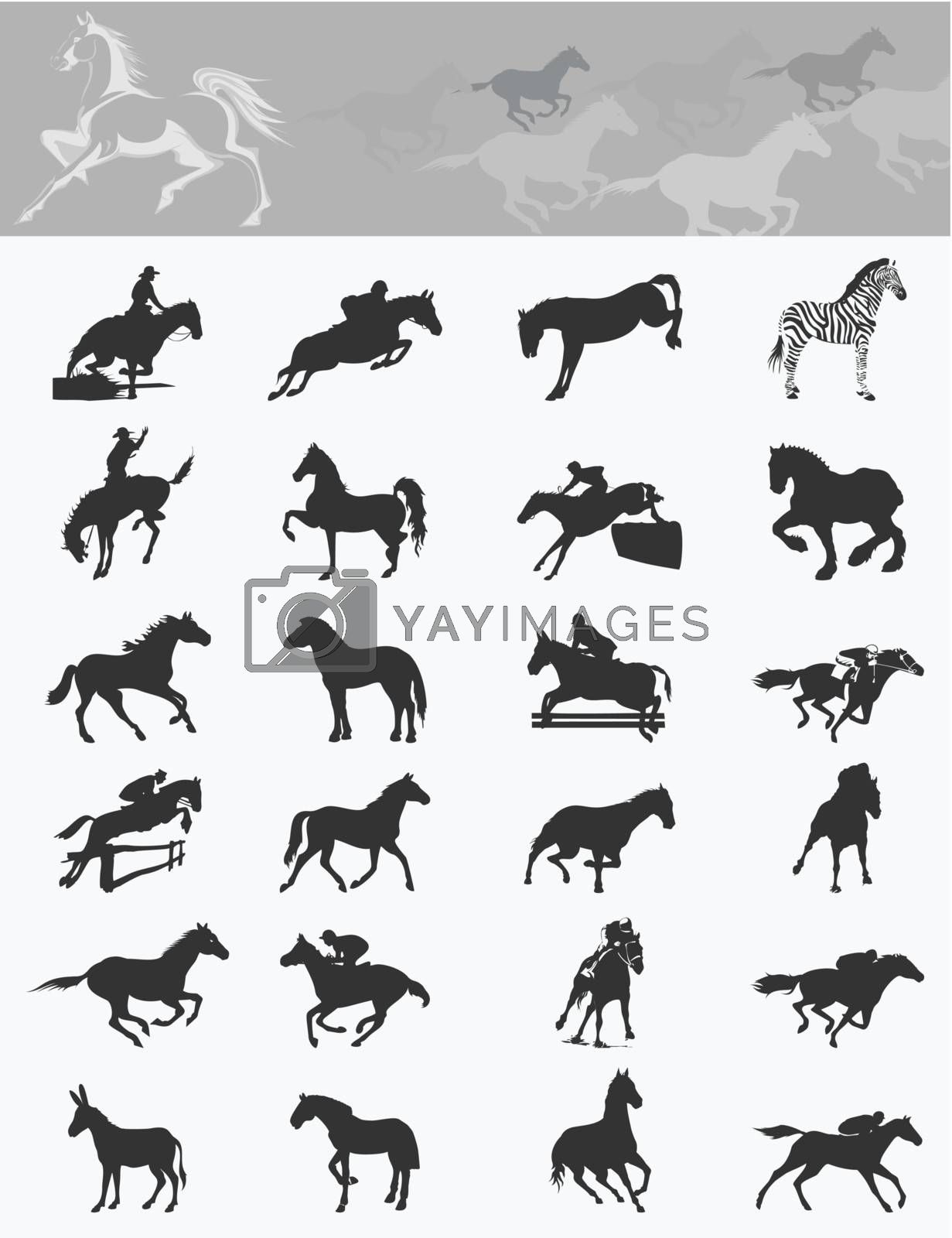 Set of icons of horses. A vector illustration