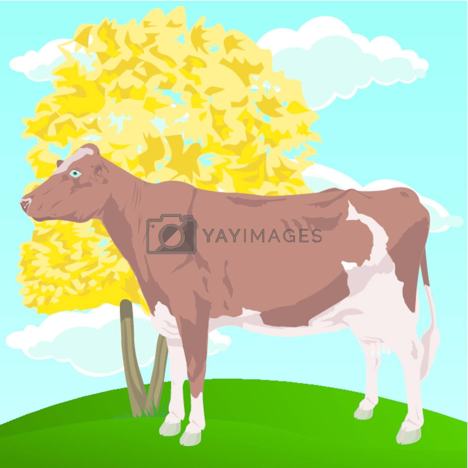 The brown cow costs near to a tree. A vector illustration