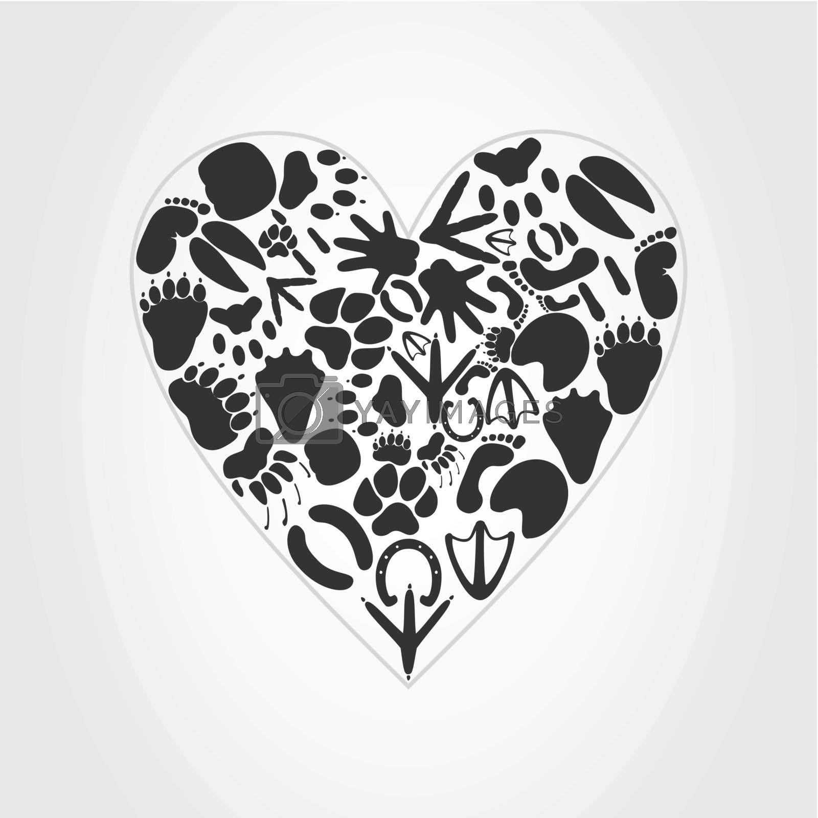 Heart collected from traces of animals. A vector illustration
