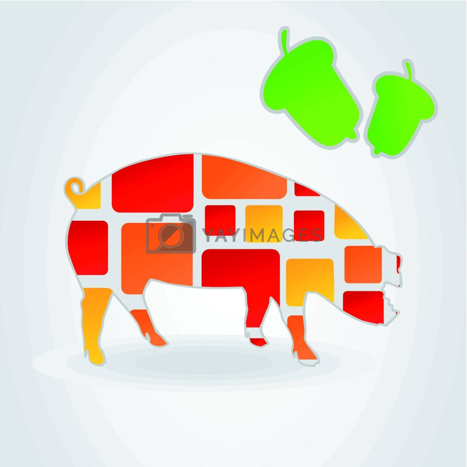 Pig on a grey background and green acorns. A vector illustration