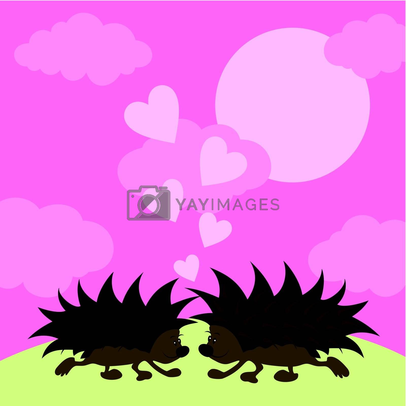 Two hedgehogs kiss on a glade. A vector illustration