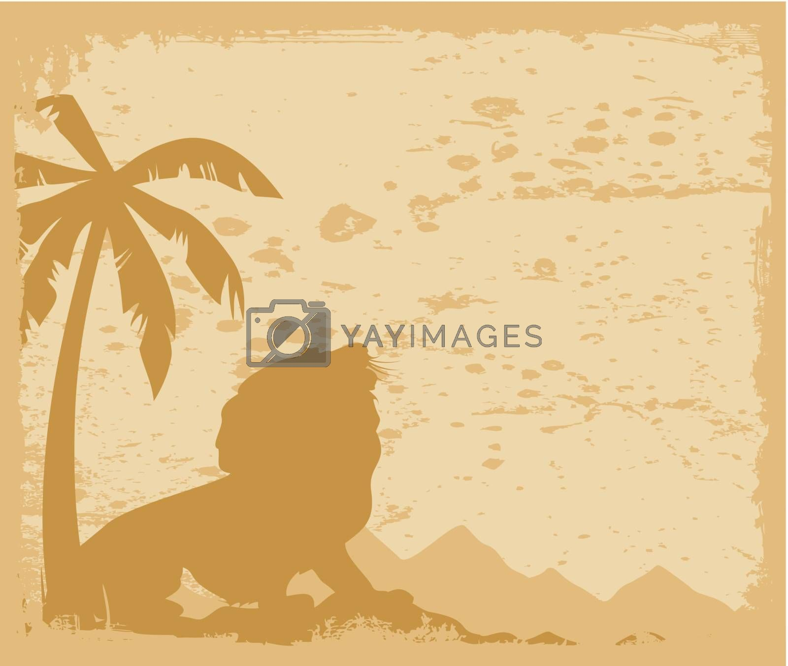 The lion growls under a palm tree. A vector illustration