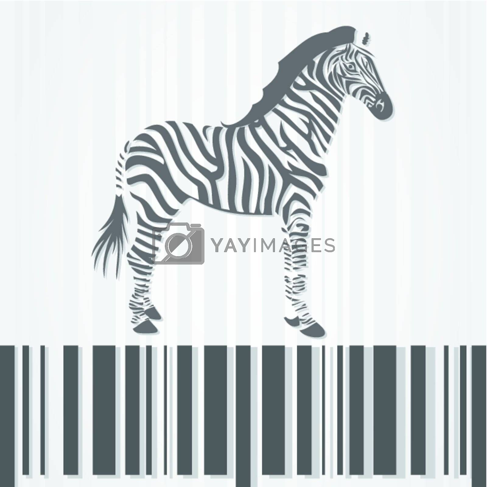 The horse a zebra costs on a stroke a code. A vector illustration