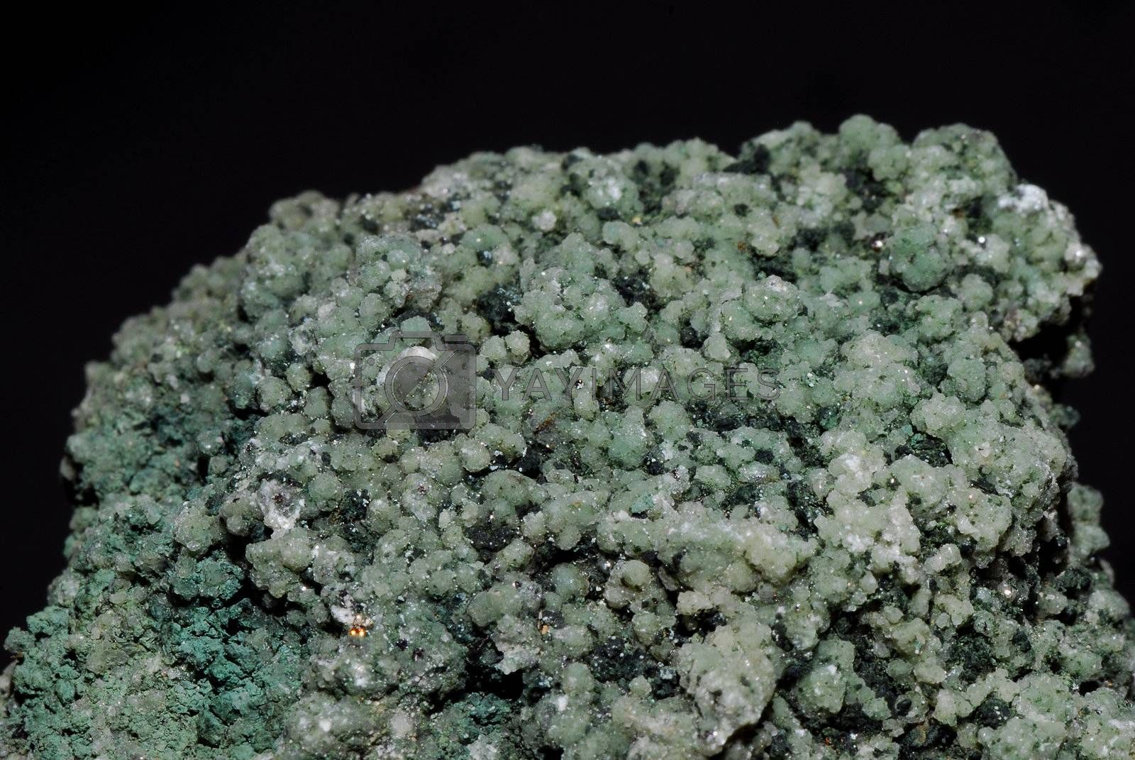 green stone and mineral quartz crystal from a quarry