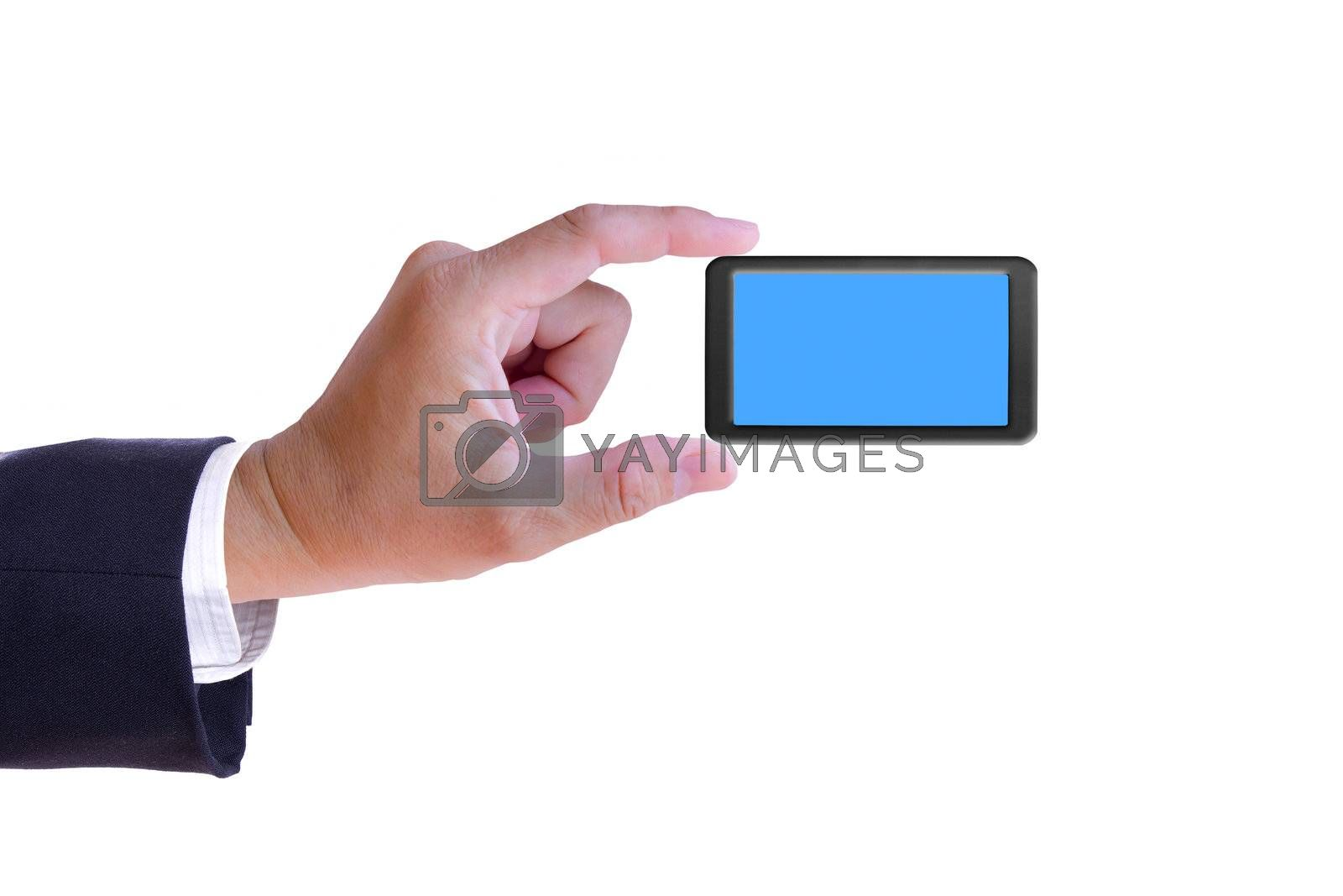 business hand holding mobile phone