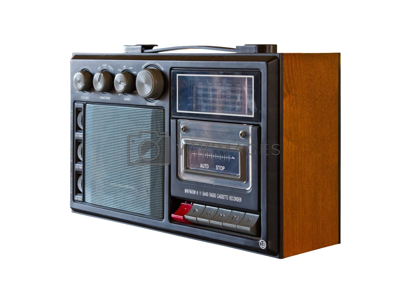 vintage radio and cassette player isolated with clipping path