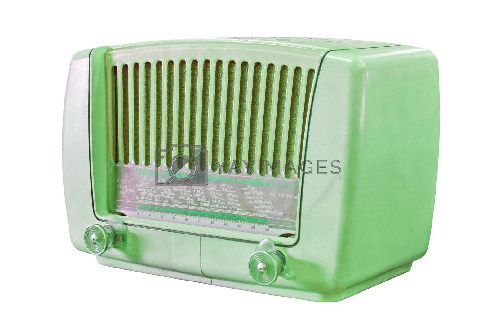 vintage green radio isolated with clipping path