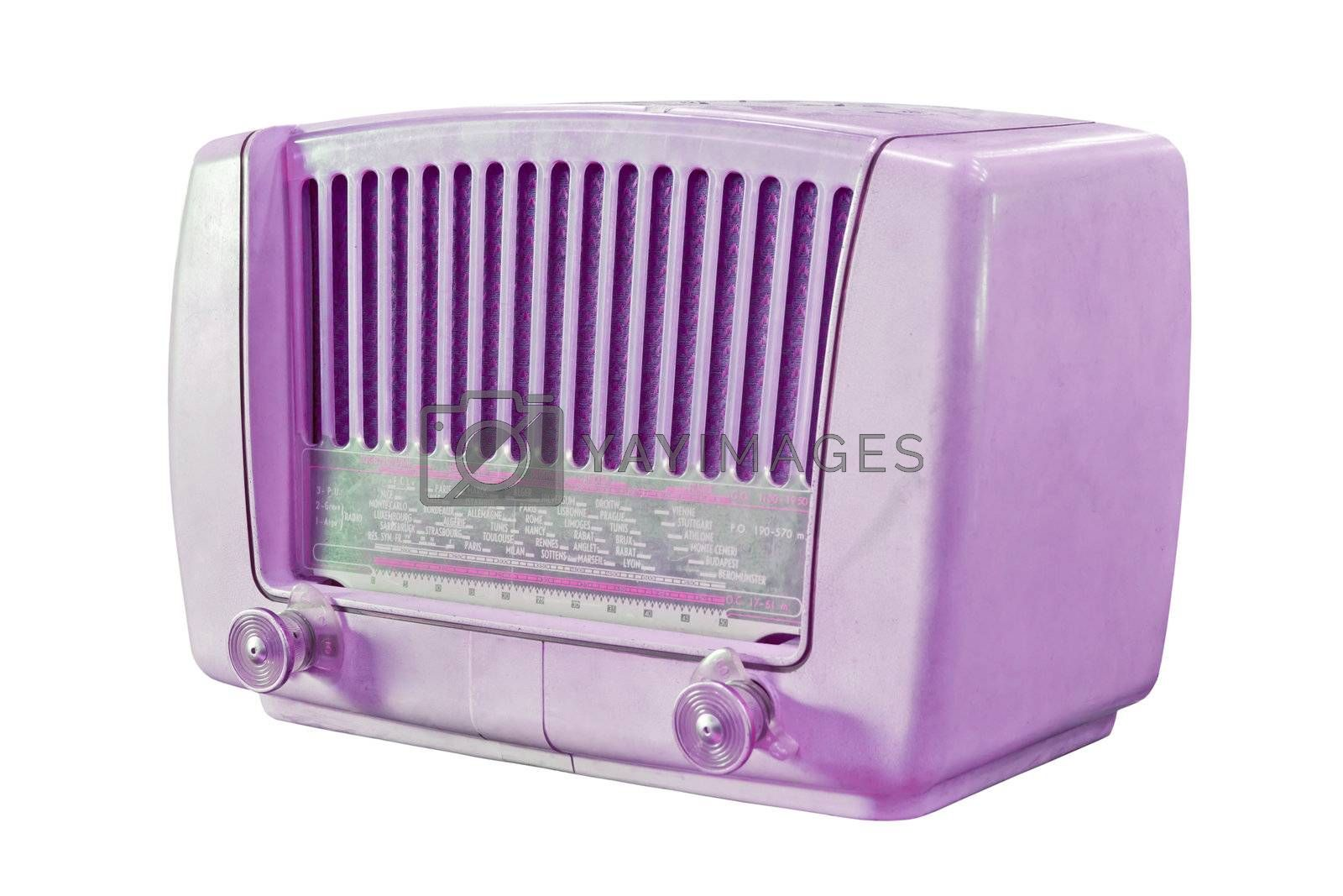 vintage purple radio isolated with clipping path