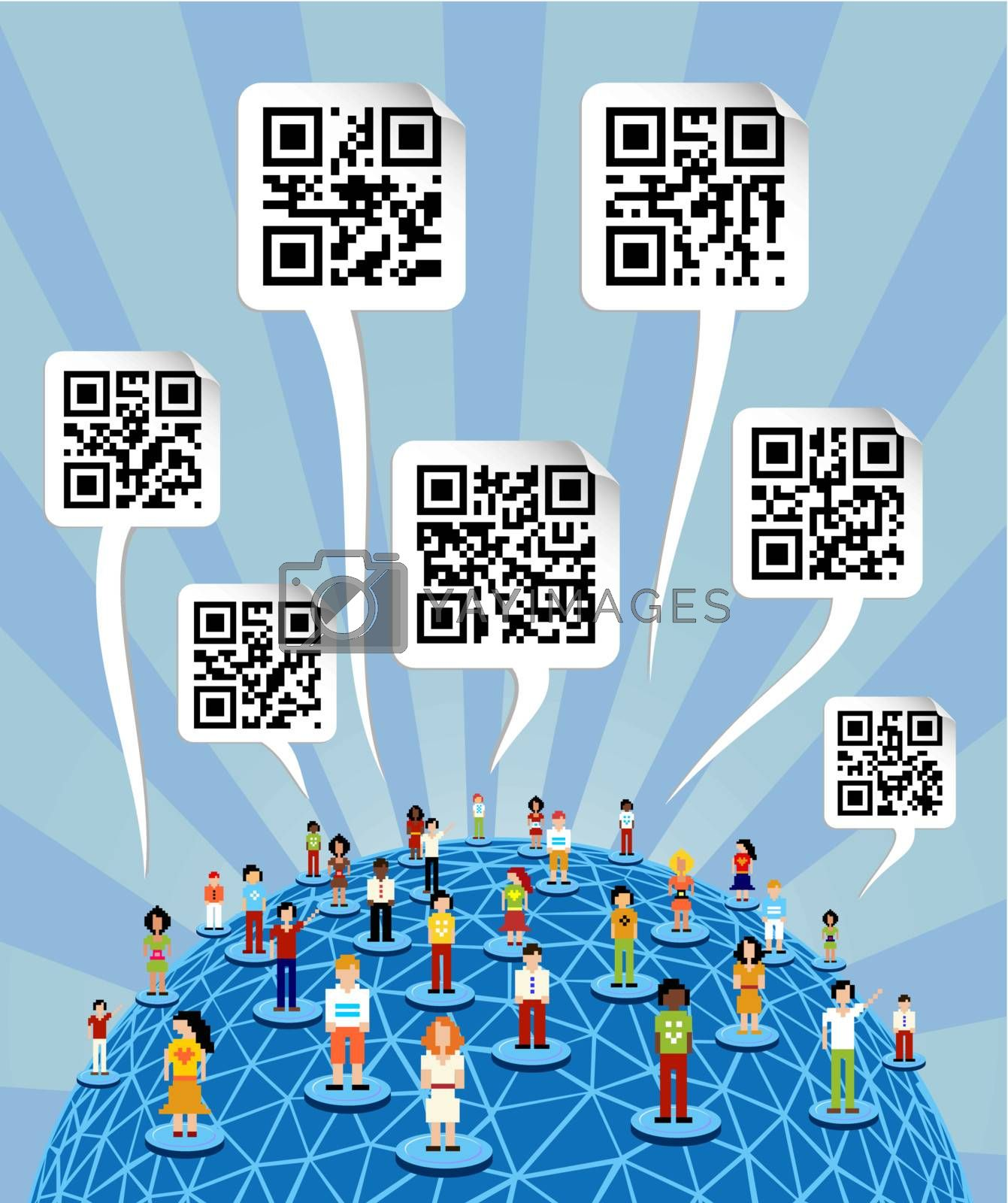 Social media people network connection concept with social QR codes in bubbles speech over World globe.
