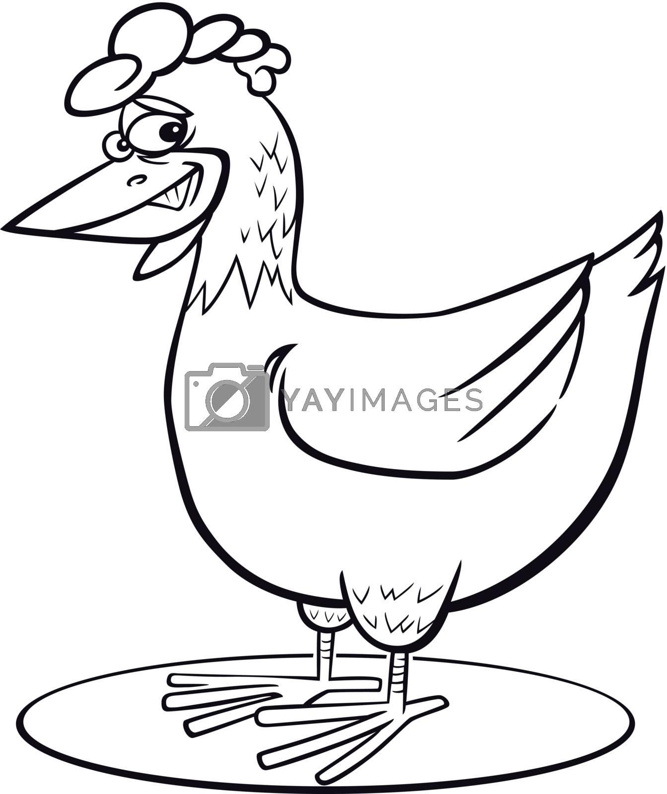 Cartoon hen coloring page by izakowski
