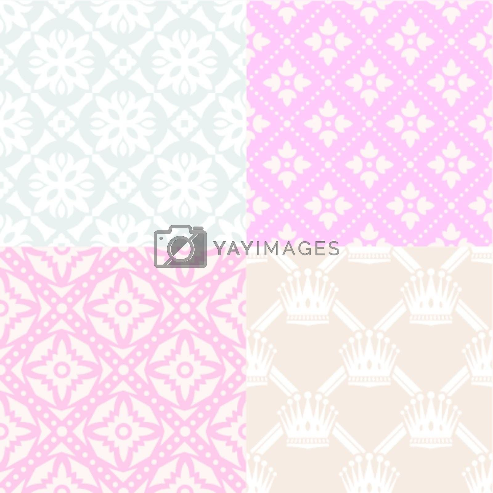 set of seamless cute backgrounds vector illustration