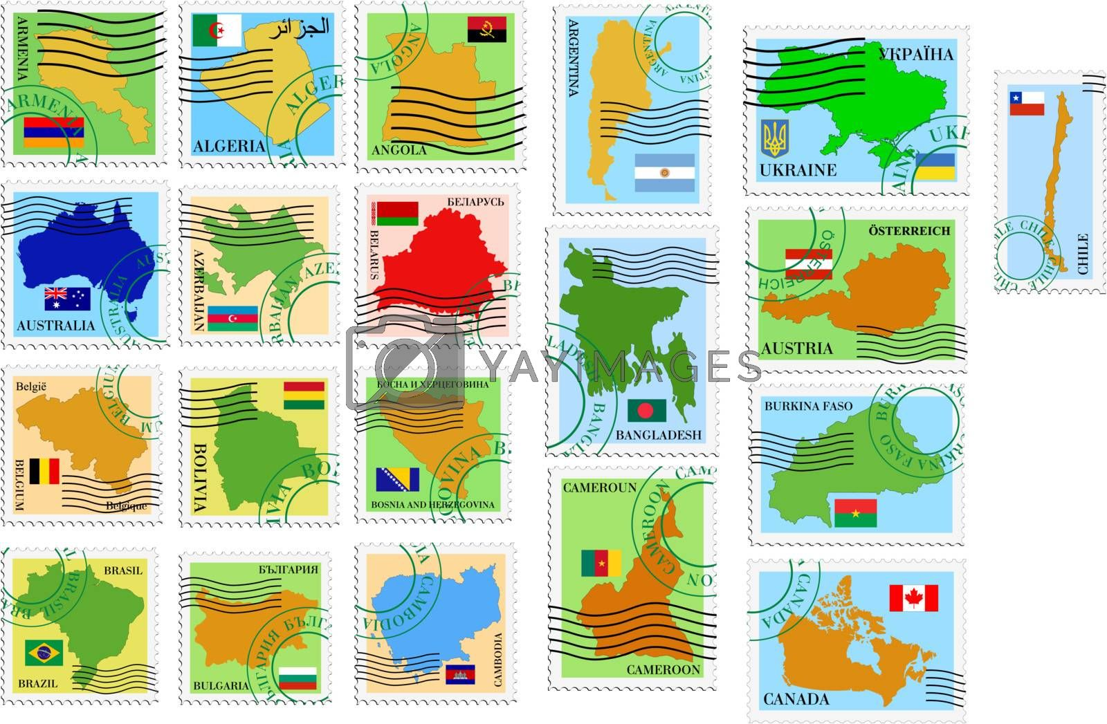 set of the stamps with different countries