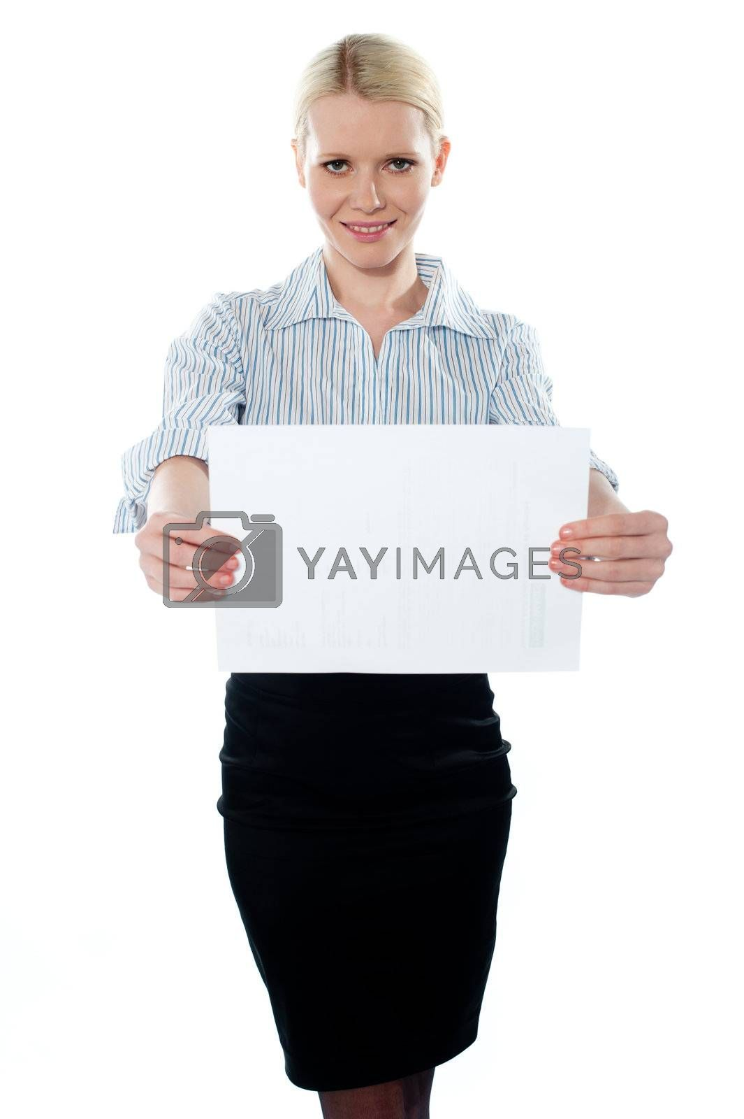 Corporate woman holding a blank billboard against white background