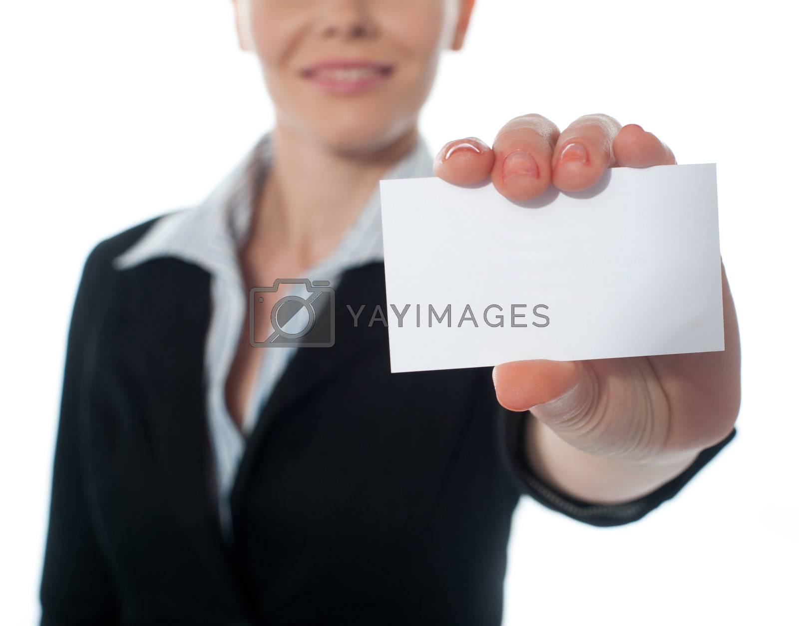 Woman showing businesscard, closeup shot