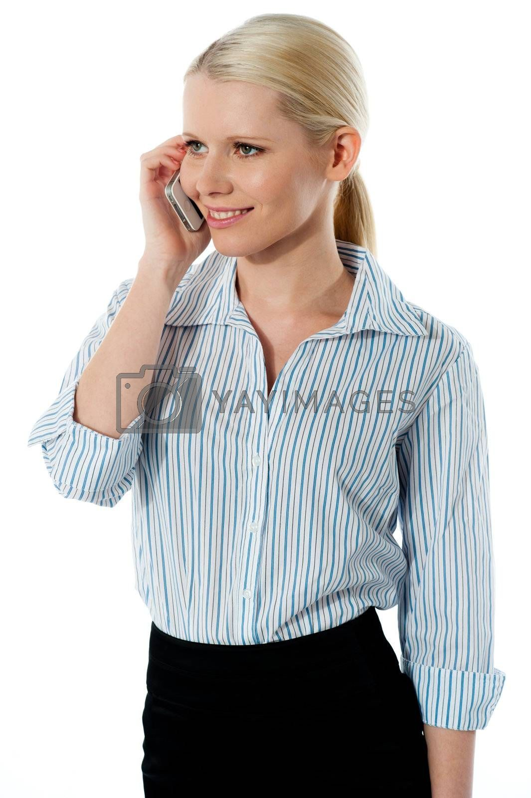 Attractive corporate woman talking business deal isolated over white background