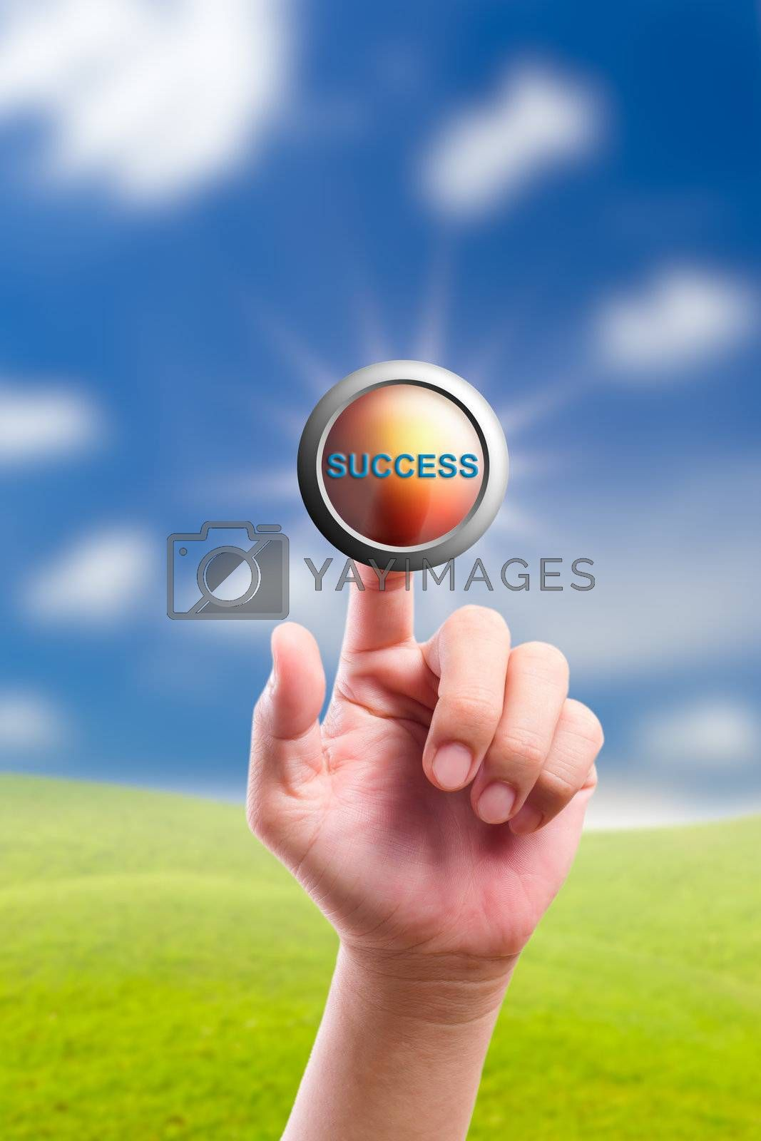 hand pushing success button