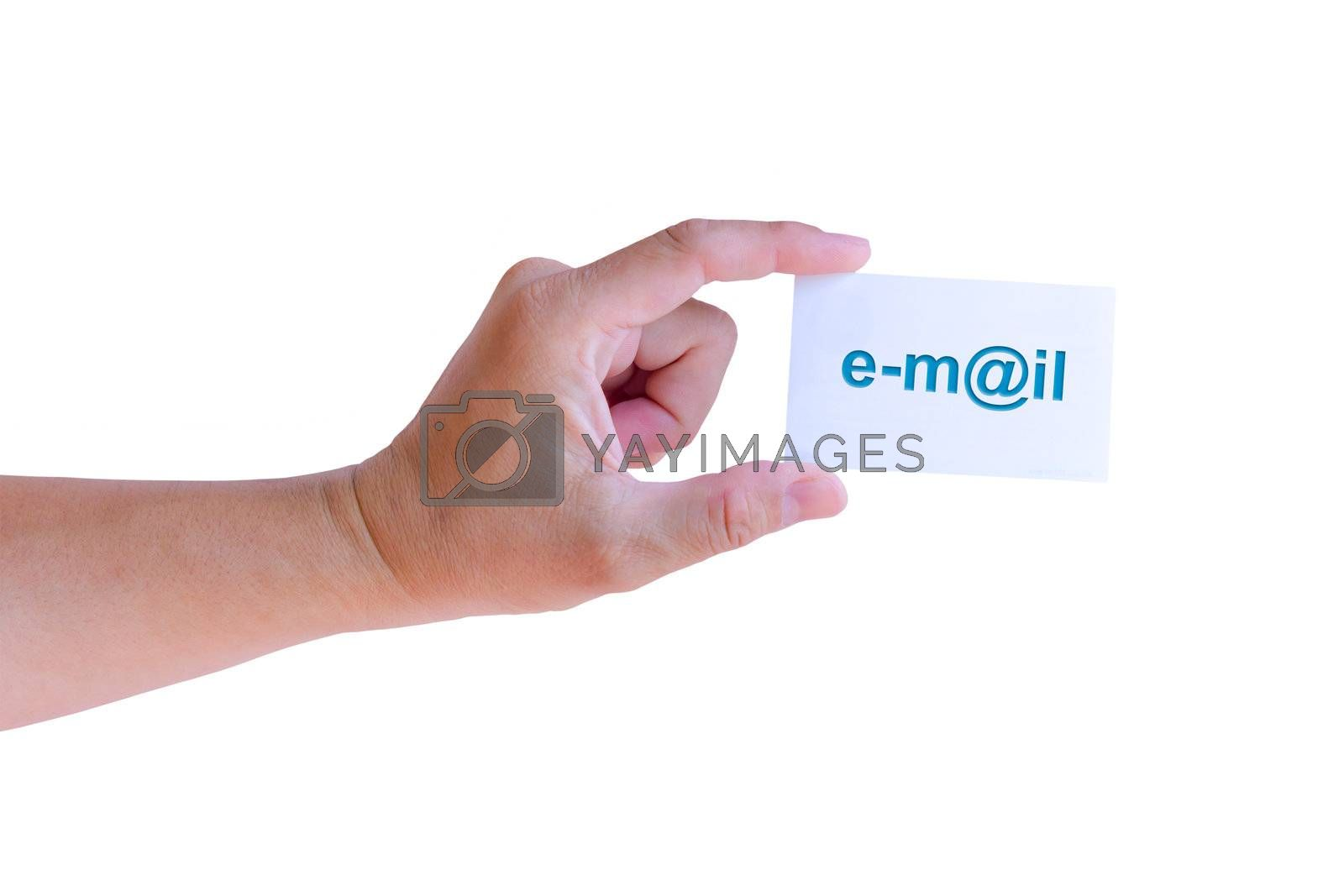 hand holding e-mail card isolated