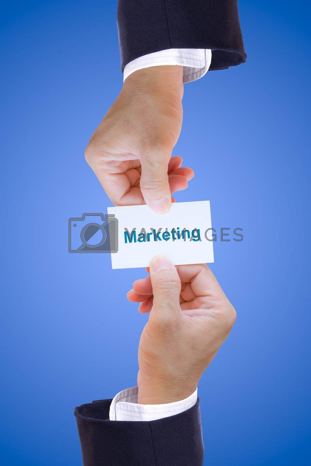 hand holding marketing card