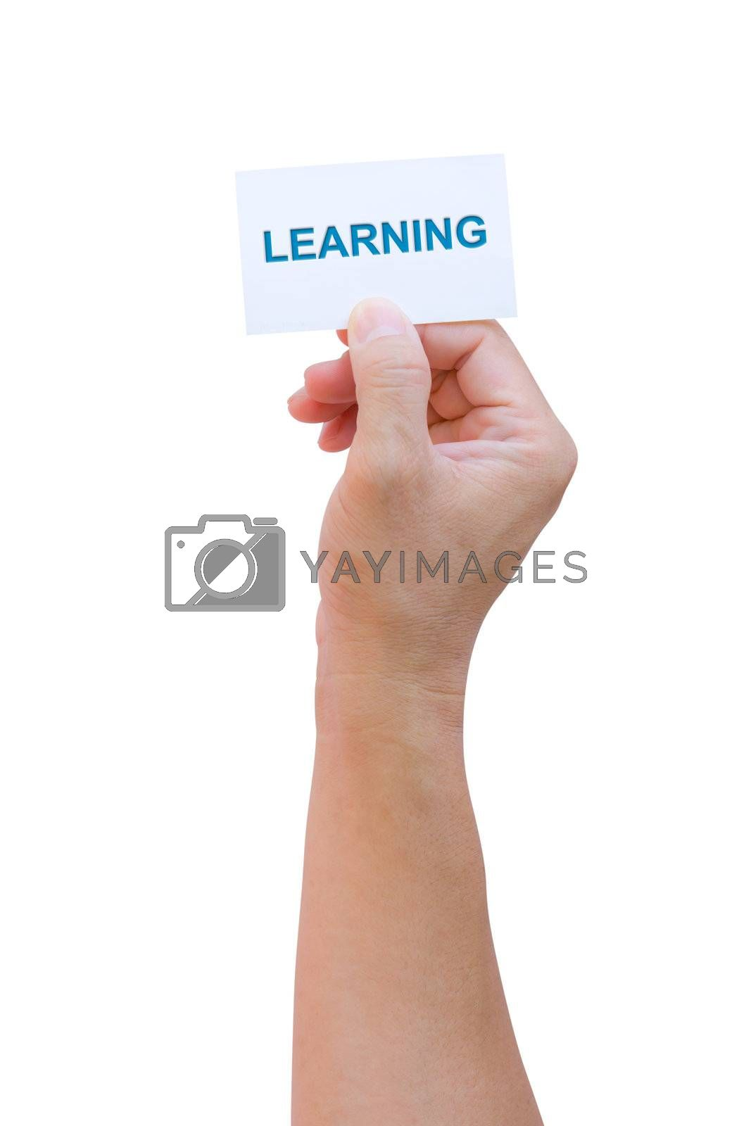 hand holding learning name card isolated with clipping path