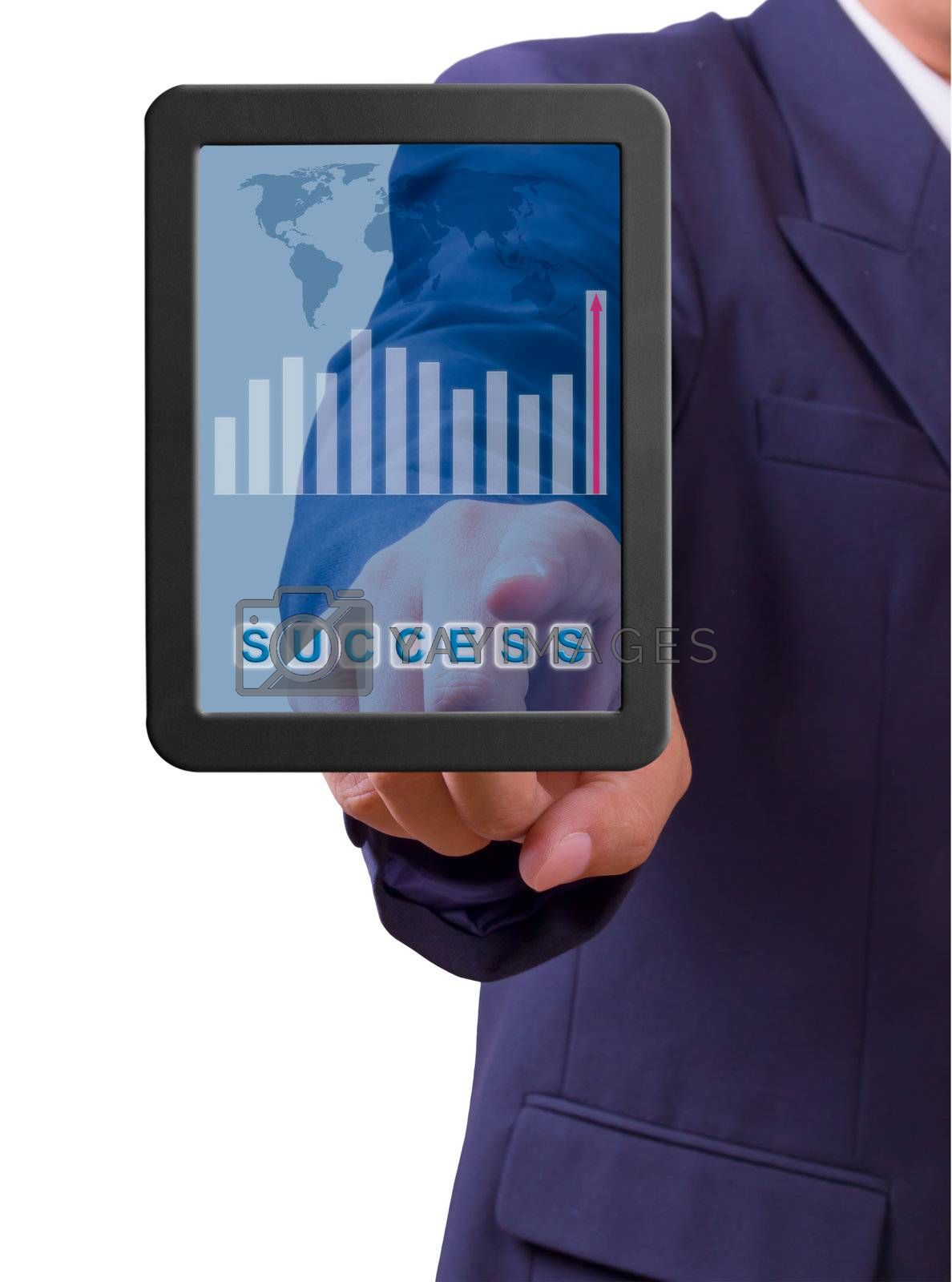 business man touch success word on tablet