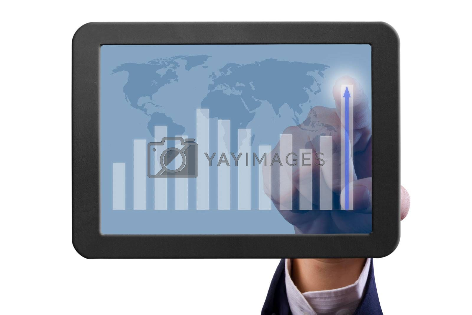 hand pointing higher graph on tablet PC