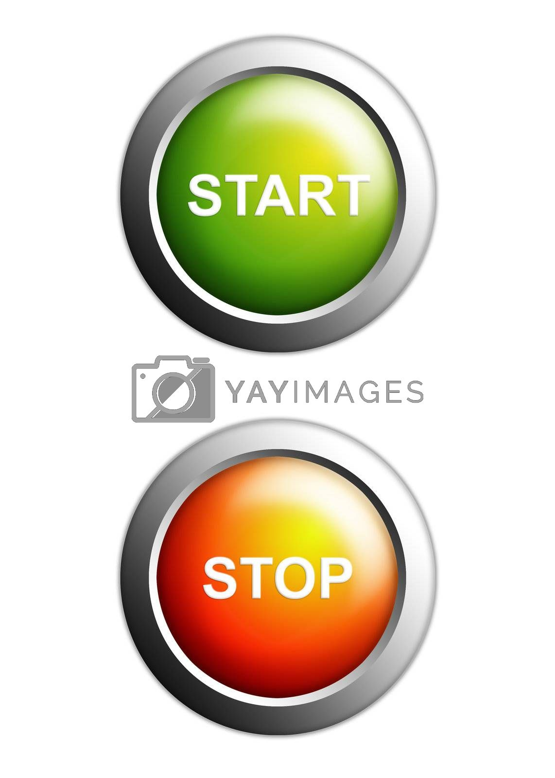 start and stop buttons isolated on white background
