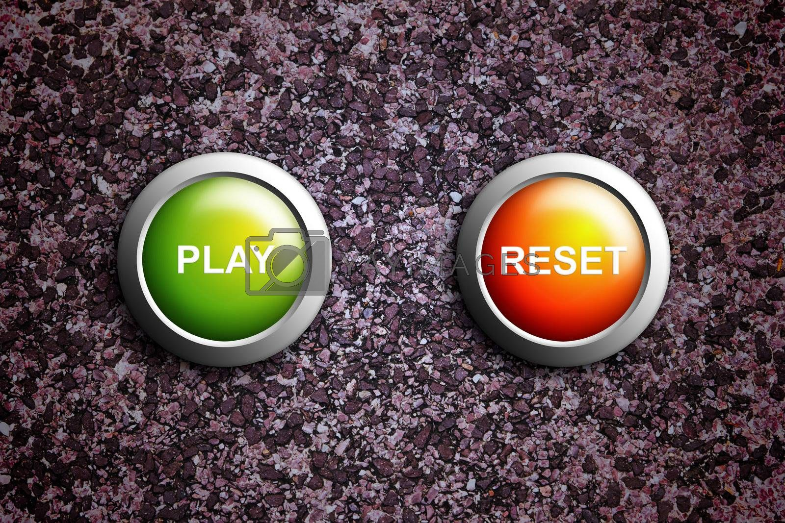 play and reset button on grunge texture