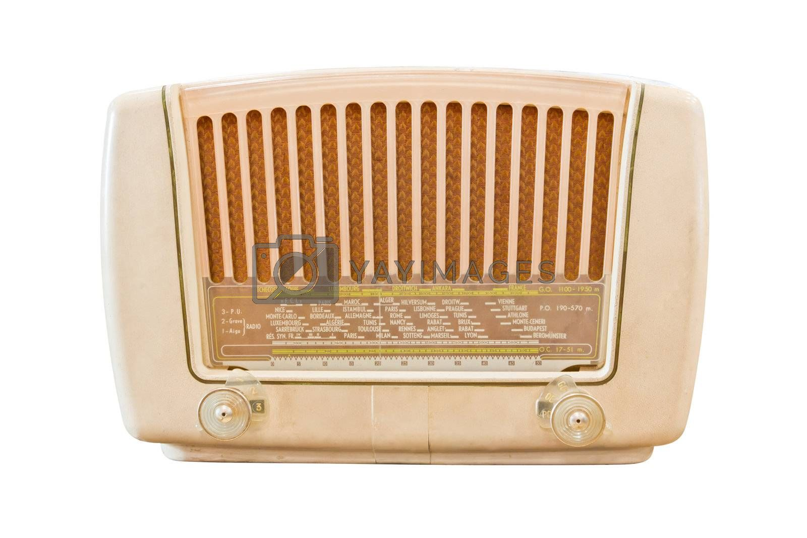 vintage radio isolated with clipping path