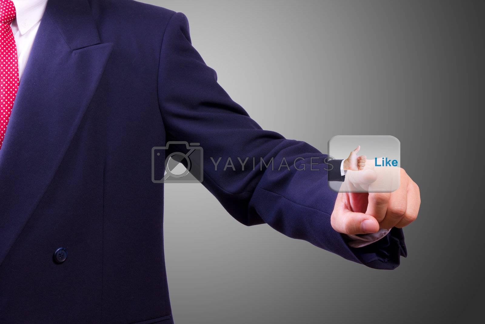 hand pushing like button