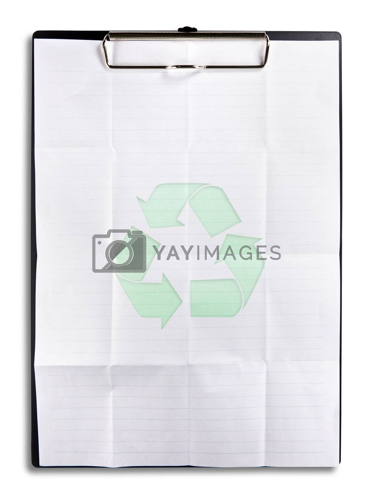 recycle paper on clipboard isolated on white