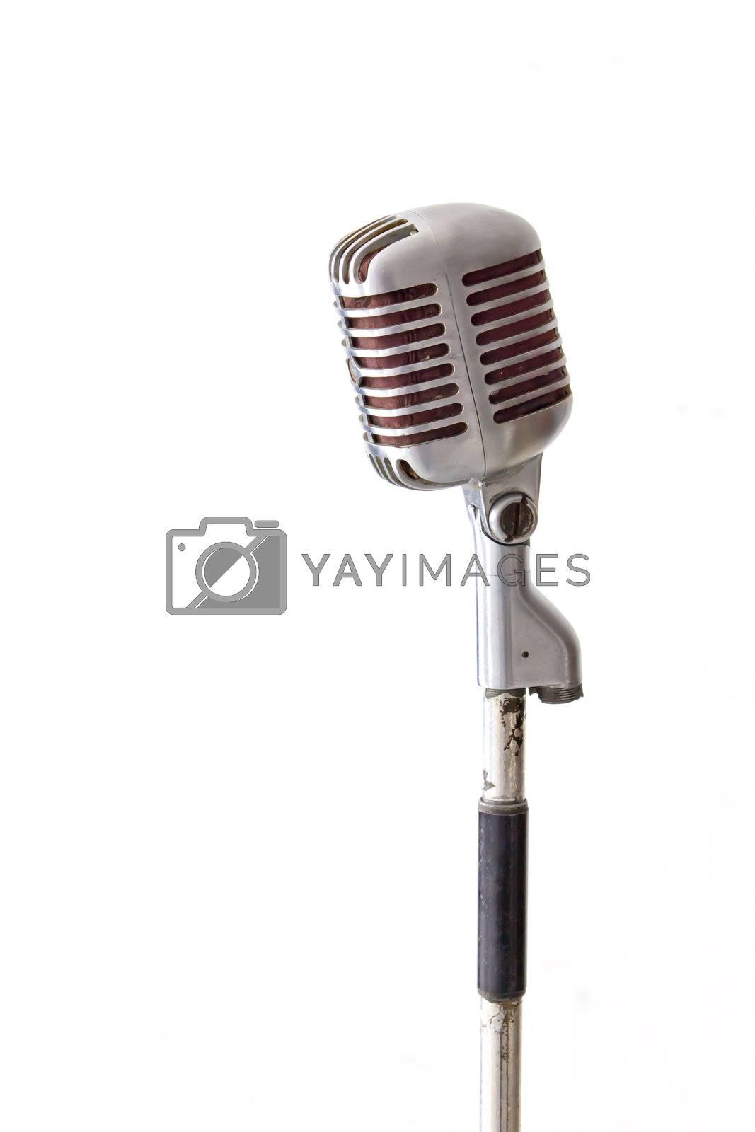 retro chrome microphone isolated