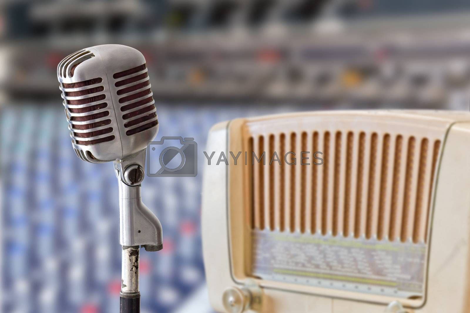 vintage microphone and radio
