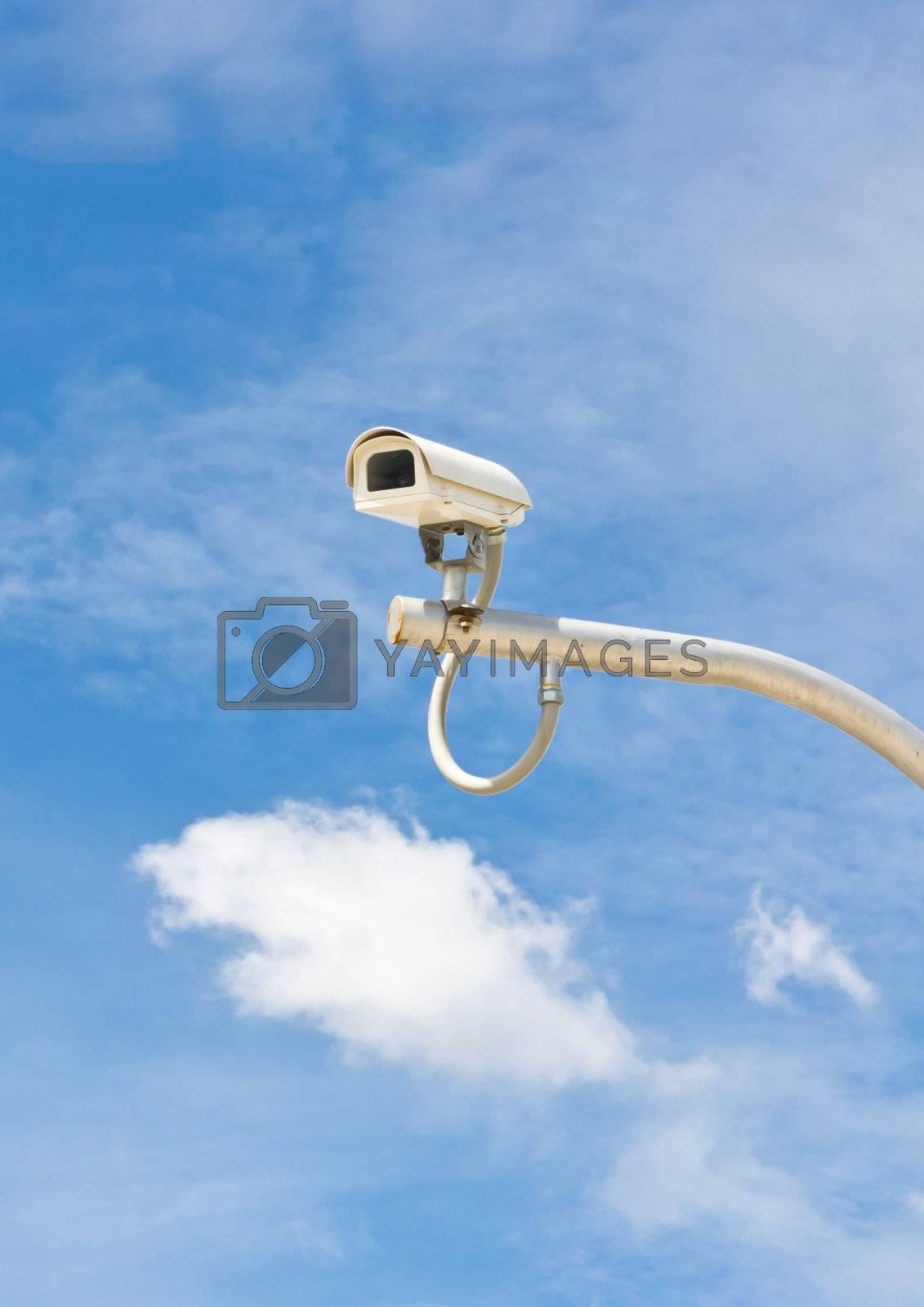outdoor security cctv camera against blue sky
