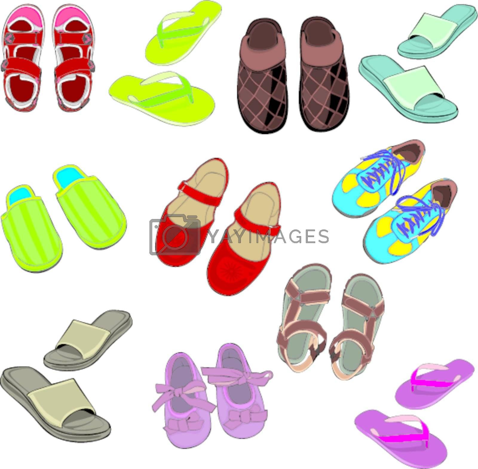 fully editable illustration isolated footwear