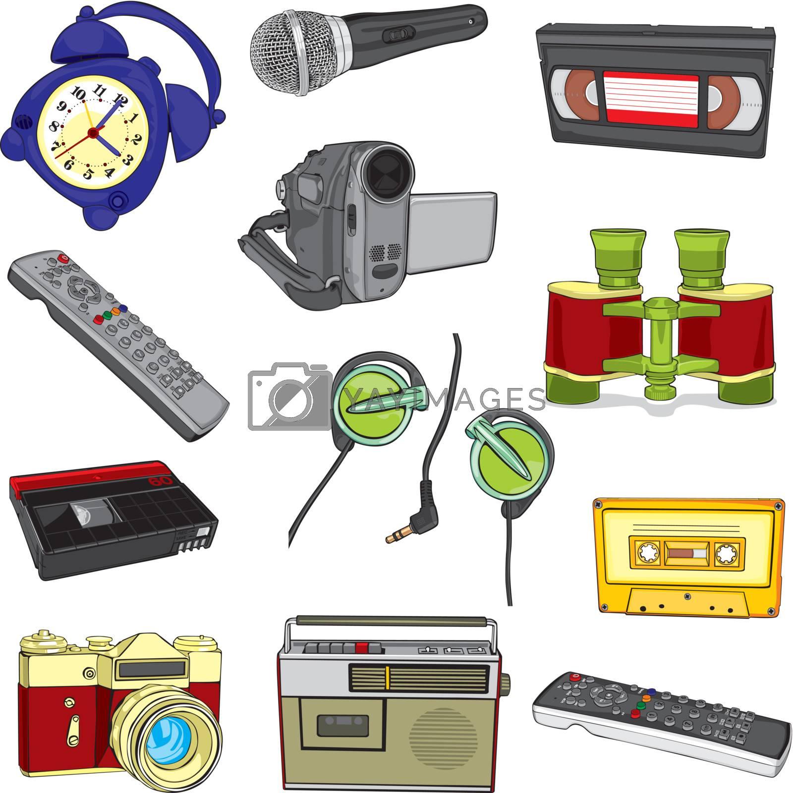 fully editable illustration isolated entertainment items