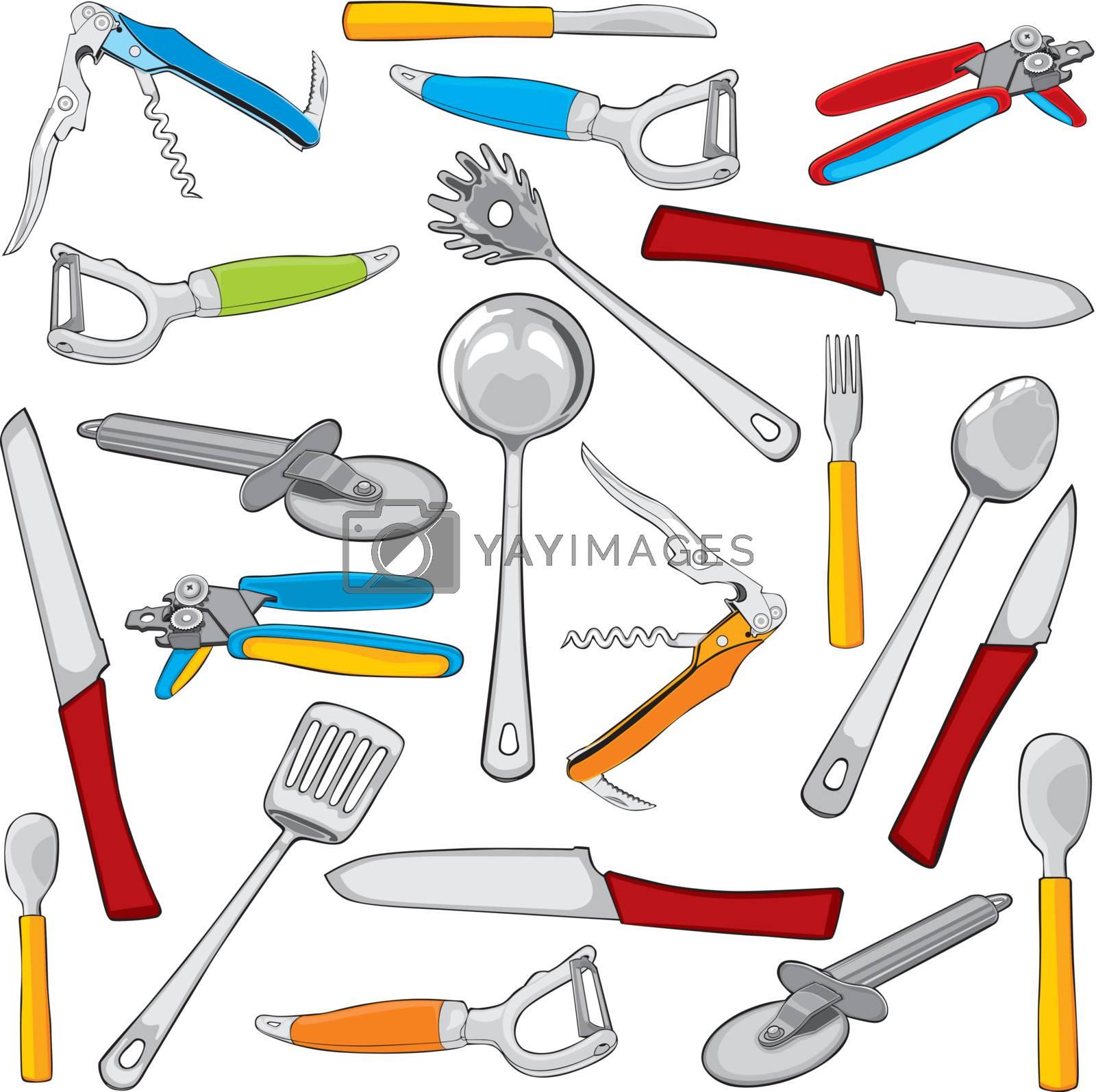 fully editable vector illustration kitchen items