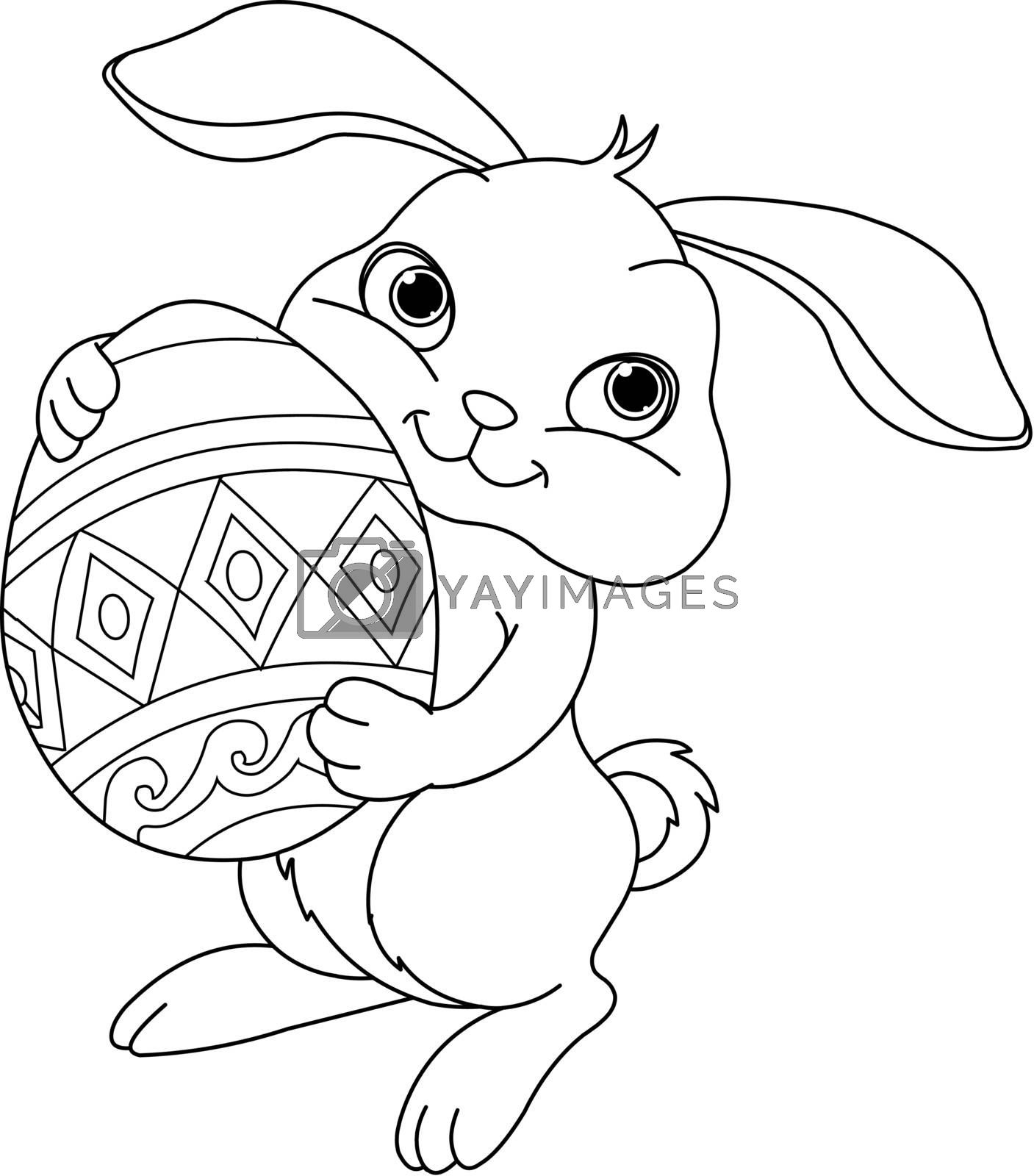 Illustration of happy Easter bunny carrying egg. Coloring page
