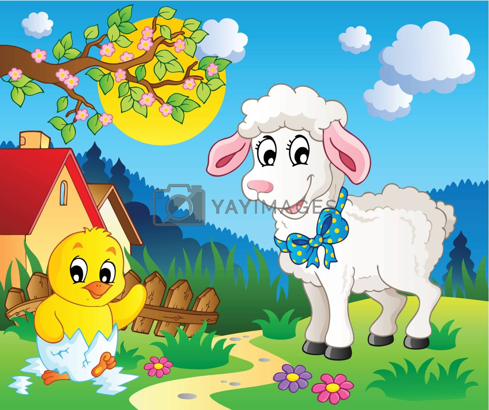 Scene with spring season theme 3 - vector illustration.