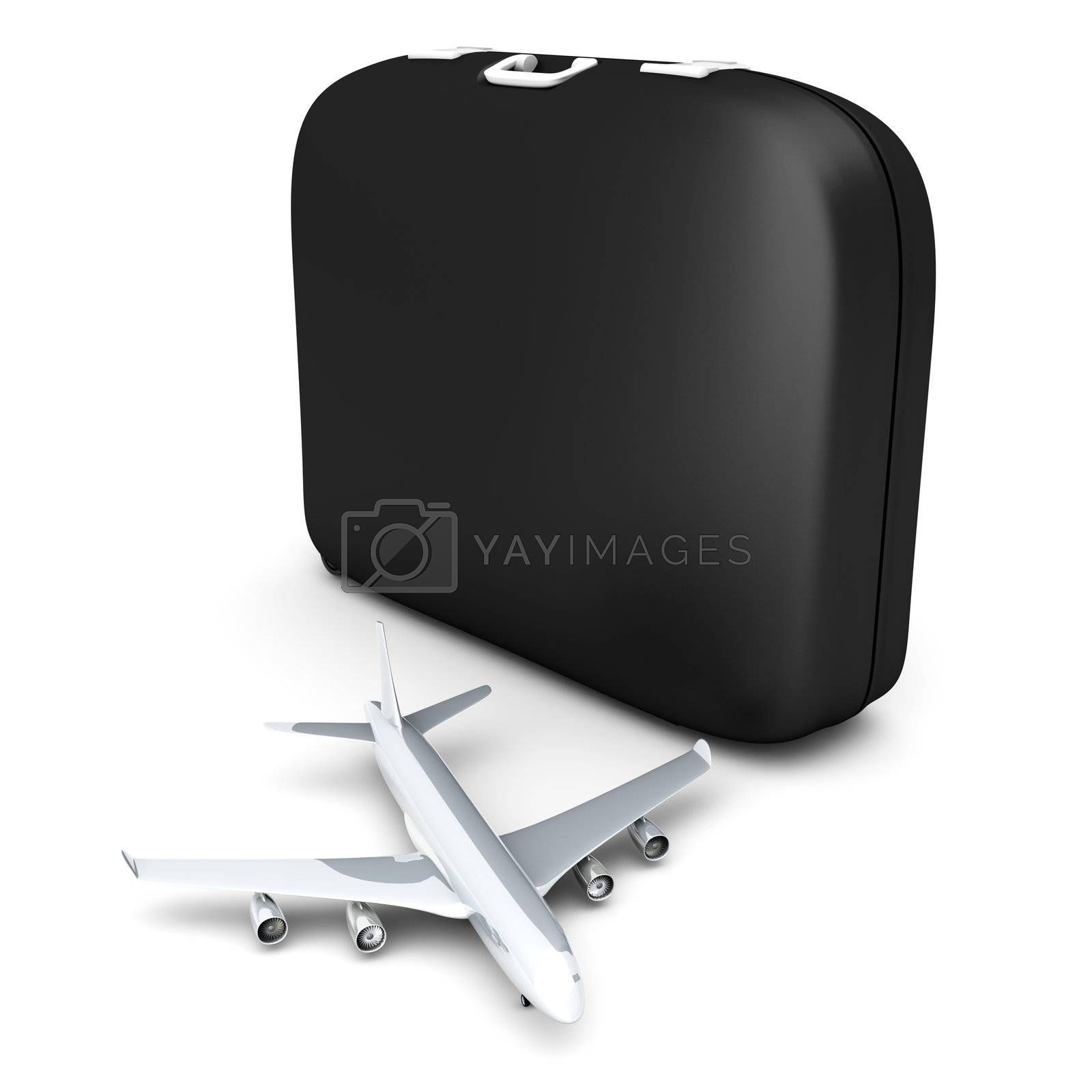 Air travelling. 3D rendered Illustration. isolated on white.